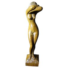 Sensuous Hand Carved Hardwood Sculpture of a Nude Woman