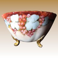 Gorgeous Antique T&V Limoges French Hand Painted 3 Footed Bowl, Artist Signed, Lavish Gilding!
