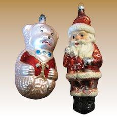 Fun Pair of Vintage Figurative Ornaments, Santa and Bear