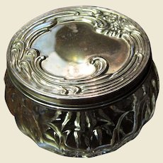 Art Nouveau Style Crystal Dresser Jar with Silver Plated Lid