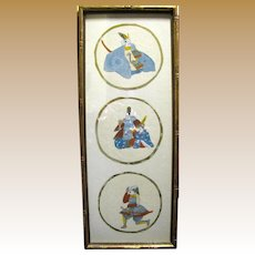 Vintage Japanese Hand Painted Pictures of Samurai Warriors Mounted in a Gilt Bamboo Frame