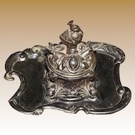 Victorian Medieval Revival Inkwell with Coat of Arms, Knight's Helmet (with Mouse), Crossed Mace and Shield