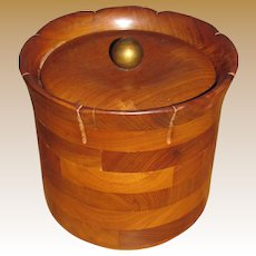 Mid Century Modern Handcrafted Solid Walnut Ice Bucket with Lid Glass Liner