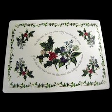 Set Of 4 Corkboard Placemats by Portmeirion, Holly & Ivy