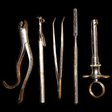 A Group of Five Vintage Dental Tools or Instruments