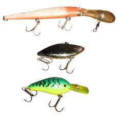 Three Vintage Old Plastic Fishing Lures For Your Tackle Box