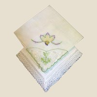 Prettiest Pair of Vintage Hankies, Batiste Applique & Embroidery, Border Lace