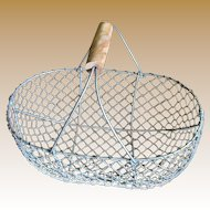 Vintage French Wire Egg or Garden Gathering Basket