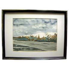 Dramatic Watercolor Painting of Lake with Trees & Mountains, Signed KR