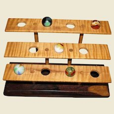 Hand Crafted Walnut & Maple Display Holder for 11 Marbles (Shooters)