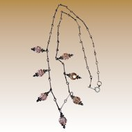 "Exceptionally Delicate 16"" Sterling and Pink Crystal Dropper Necklace"