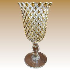Imperial Glass Gold Diamond Point Celery Vase (Makes Great Votive Holder)