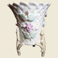 Beautiful Porcelain Basket Weave Vase with Applied Floral Decoration and Twig Feet