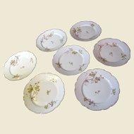 "Lovely Set of Seven L.S & S French Limoges 7 1/4"" Gilt Floral Plates"