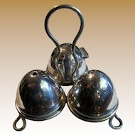 Antique English Sheffield Silver Plated Salt, Pepper & Mustard with Carrying Caddy