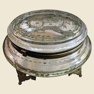 Huge Circa 1850's Cut Glass Egyptian Revival Dresser Box, Gilt Bronze Mounts