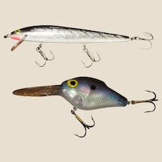 "Lightnin Shad 5"" & Rebel Floating Minnow 5 1/2"" Black/Silver Crankbait Lures"