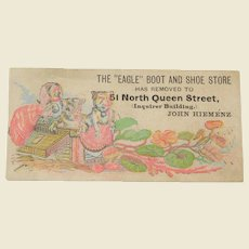 "Vintage Cats, Watercolor, The ""Eagle"" Boot and Shoe Store, Trade/Advertising Card"