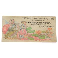 """Vintage Cats, Watercolor, The """"Eagle"""" Boot and Shoe Store, Trade/Advertising Card"""