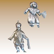 Unsigned Danecraft Sterling Asian Boy & Girl Pins