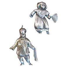 Unsigned Danecraft Sterling Asian Boy & Girl Pins