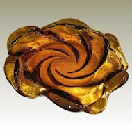 "Stunning 9"" Vintage Fenton Amber Art Glass Bowl, Swirl Wave Design"
