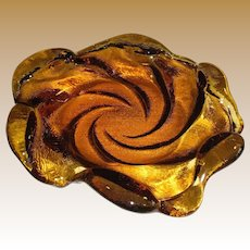 "Stunning 9"" Vintage Fenton Amber Art Glass Bowl, Swirl Wave Design"