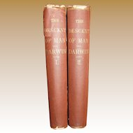 1871, The Descent of Man by Charles Darwin, First American Edition, 2 Volumes