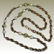 "Georgous 1960's 34"" Gold Tone Twisted Rope Necklace w/ Glass Pearls & Aurora Beads"