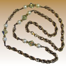 """Georgous 1960's 34"""" Gold Tone Twisted Rope Necklace w/ Glass Pearls & Aurora Beads"""