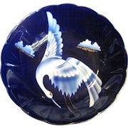 "Vintage Japanese Fukagawa Style Signed Porcelain 10"" Footed Bowl w/ Crane Decoration"