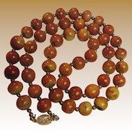 """30"""" Vintage Apple Sponge Coral Necklace w/ Gilt Silver Clasp"""