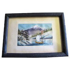 1940's Hand Stitched Japanese Silk Picture Lake w/ Boat, Temple & Mountains