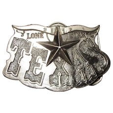 1980, Lone Star Texas Nickle Plated Brass Belt Buckle, Made in U.S.A.