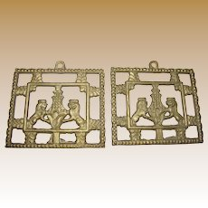 """Matched Pair of 4 1/2 x 4"""" Brass Heraldic Lion Architectural Elements"""