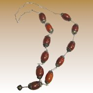 "Vintage 30"" Yemen Tribal Necklace, Poured Bakelite Beads"