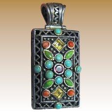 Ornate Sterling Filigree Pendant w/ Coral, Turquoise & Gemstones, 34 Grams