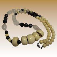 Bold Hand Carved Bone, Rose Quartz & Black Bead Tribal Necklace