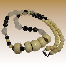 Bold Hand Carved Bone, Rose Quartz & Black Bead Tribal Necklace