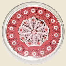 Vintage Round Playing Cards, Red Hex Sign Design with Plastic Storage Box