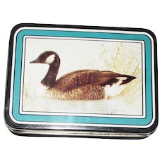 Canadian Goose Playing Cards Decorative Tin Box with Ducks on Back of The Cards