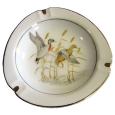 Vintage Porcelain Mallard Duck Gold Rim Cigar / Cigarette Ashtray by Norleans of Japan