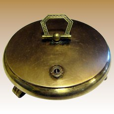 Circa 1950's Lions Club Solid Brass Trinket Box