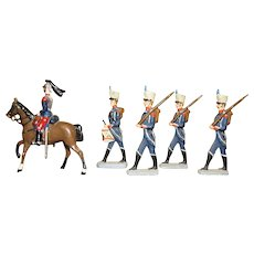 "Set of 5 French Saxon Napoleonic Hussar Regiment 3"" Lead Soldiers"