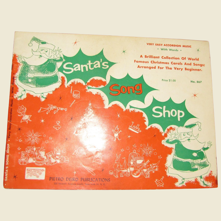 """1956, """"Santa's Song Shop Book"""" Very Easy Accordian Music with Words-A  Brilliant Collection of World Famous Christmas Carols and Songs"""