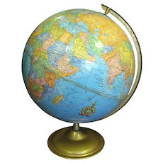 "Vintage Crams 12"" Imperial World Globe, Nice Vintage Condition, Lovely Bright Colors"