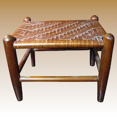 Vintage Rustic Hardwood Footstool with Split Oak Woven Top