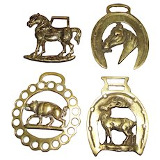 Set of 4 Early English Horse Brasses, Horse, Boar, Deer, Horses Head!