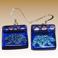 Cool Dichroic Glass Polar Bear Earrings
