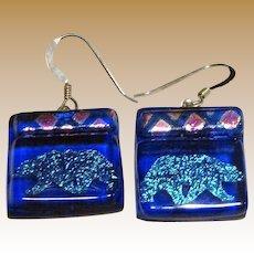 Cool Dichroic Glass Polar Bear Earrings